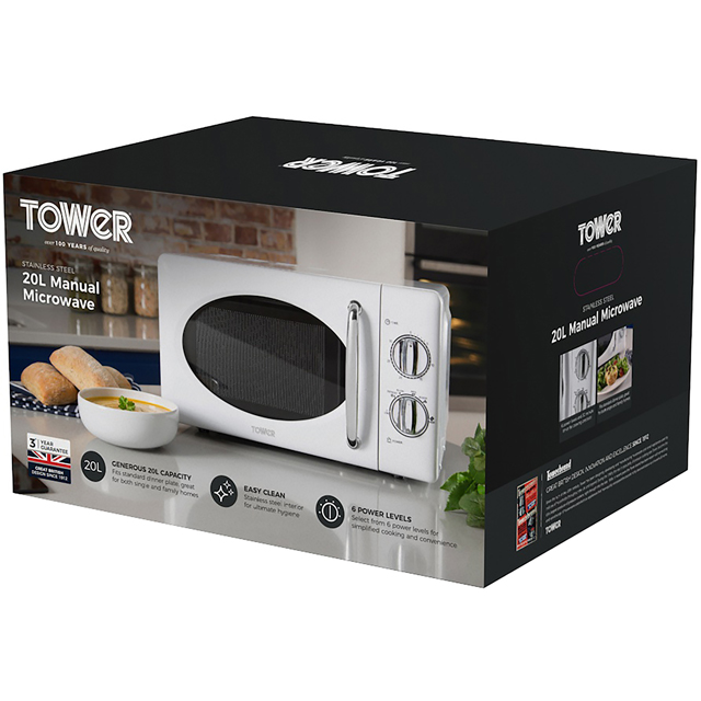 Tower T24017 20 Litre Microwave - White - T24017_SI - 5