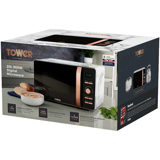 Tower T24021PS 20 Litre Microwave - Pink - T24021PS_PK - 5