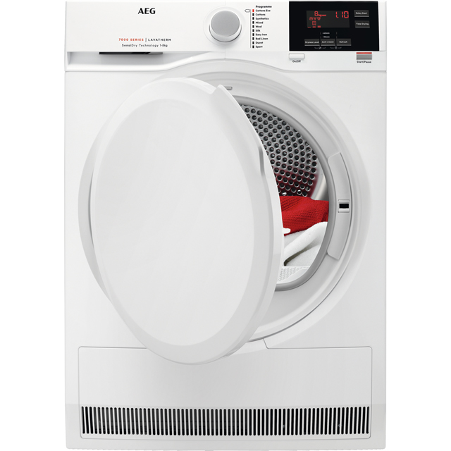 AEG SensiDry Technology T7DBG840N Free Standing Condenser Tumble Dryer in White