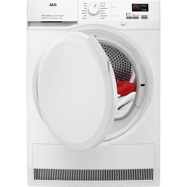 AEG SensiDry Technology T7DBK840N 8Kg Heat Pump Tumble Dryer - White - A++ Rated