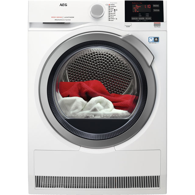 AEG AbsoluteCare Technology T8DBG942R 9Kg Heat Pump Tumble Dryer - White - A++ Rated - T8DBG942R_WH - 1