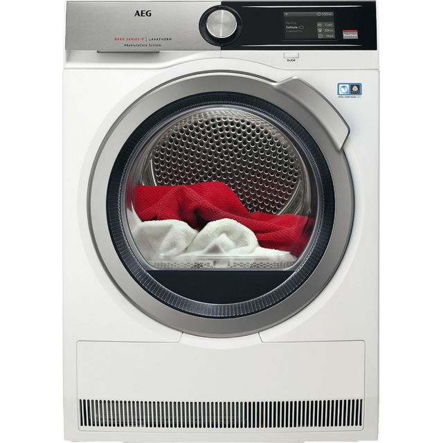 AEG AbsoluteCare Technology T8DEA866C Wifi Connected 8Kg Heat Pump Tumble Dryer - White - A+ Rated