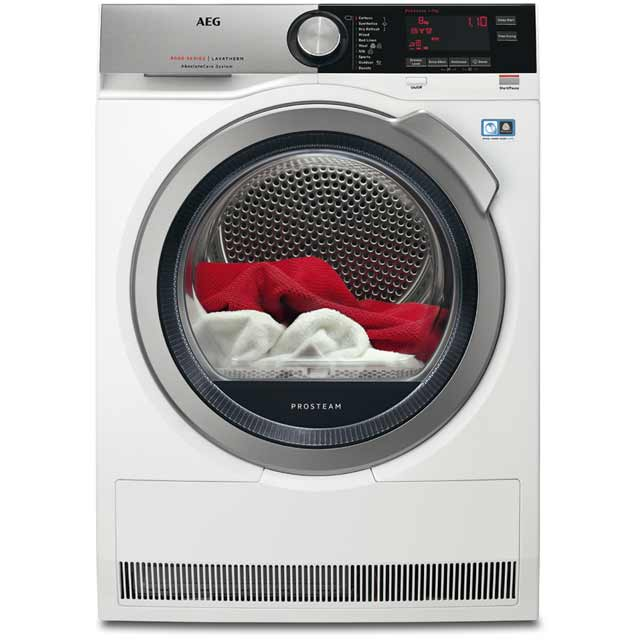AEG AbsoluteCare Technology T8DEC946S Free Standing Condenser Tumble Dryer in White