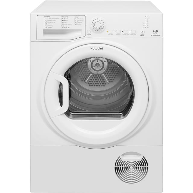 Hotpoint Aquarius TCFS73BGP 7Kg Condenser Tumble Dryer - White - B Rated - TCFS73BGP_WH - 1