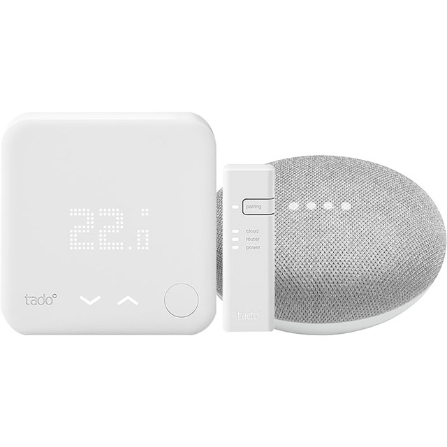 tado Smart Thermostat Starter Kit V3+Includes Google Home Mini - DIY Install - White - THERMINIBUN - 1