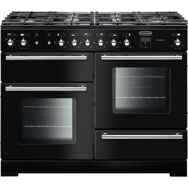 Rangemaster Toledo + TOLP110DFFGB/C 110cm Dual Fuel Range Cooker - Black / Chrome - A/A Rated - TOLP110DFFGB/C_BK - 1
