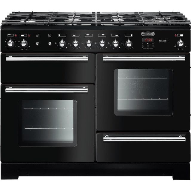Rangemaster Toledo + 110cm Dual Fuel Range Cooker - Black / Chrome - A/A Rated