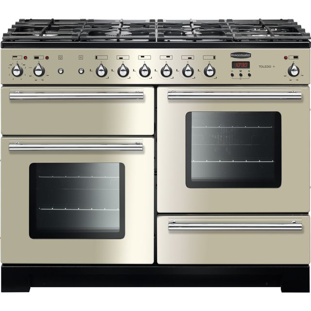 Rangemaster Toledo + TOLP110DFFIV/C 110cm Dual Fuel Range Cooker - Ivory / Chrome - A/A Rated - TOLP110DFFIV/C_IV - 1