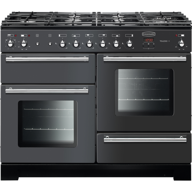 Rangemaster Toledo + TOLP110DFFSL/C 110cm Dual Fuel Range Cooker - Slate - A/A Rated