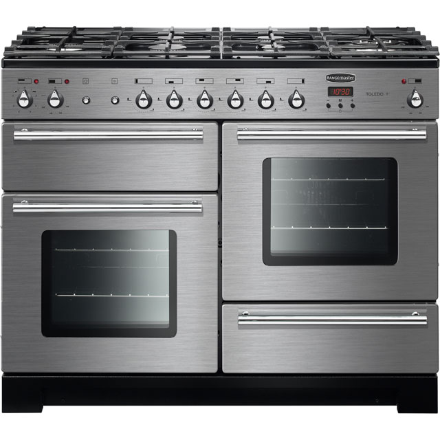 Rangemaster Toledo + TOLP110DFFSS/C 110cm Dual Fuel Range Cooker - Stainless Steel / Chrome - A/A Rated - TOLP110DFFSS/C_SS - 1