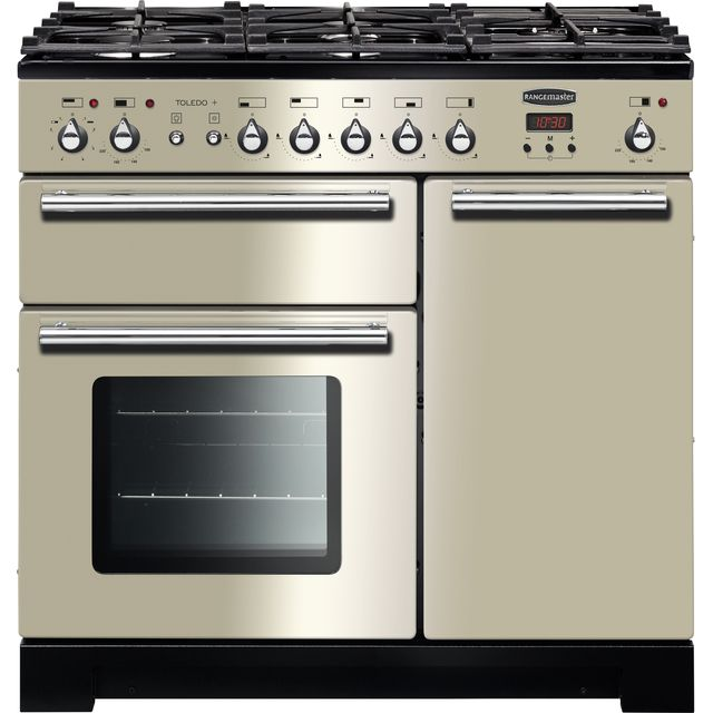Rangemaster Toledo + TOLP90DFFIV/C 90cm Dual Fuel Range Cooker - Ivory / Chrome - A/A Rated - TOLP90DFFIV/C_IV - 1