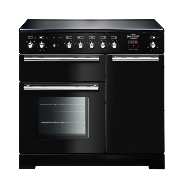Rangemaster Toledo + TOLP90EIGB/C 90cm Electric Range Cooker with Induction Hob - Black - A/A Rated - TOLP90EIGB/C_BK - 1