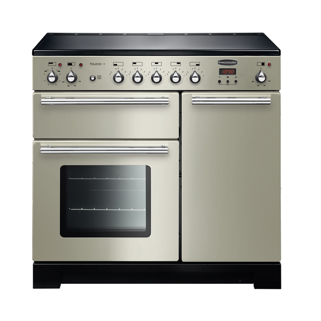Rangemaster Toledo + TOLP90EIIV/C 90cm Electric Range Cooker with Induction Hob - Ivory / Chrome - A/A Rated - TOLP90EIIV/C_IV - 1
