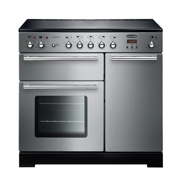 Rangemaster Toledo + TOLP90EISS/C 90cm Electric Range Cooker with Induction Hob - Stainless Steel - A/A Rated - TOLP90EISS/C_SS - 1