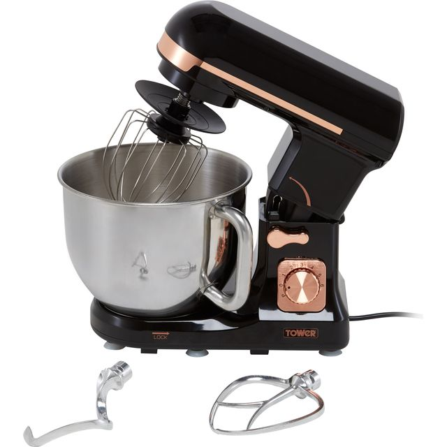 Tower T12033RG Stand Mixer with 5 Litre Bowl - Black / Rose Gold