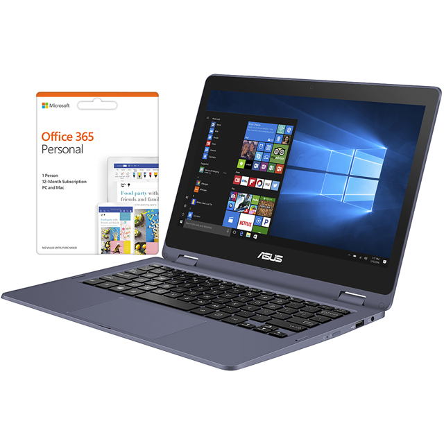 "Asus Vivobook Flip TP202NA 11.6"" Cloudbook Laptop Includes Office 365 Personal 1-year subscription with 1TB Cloud Storage - Grey - TP202NA-EH001TS - 1"
