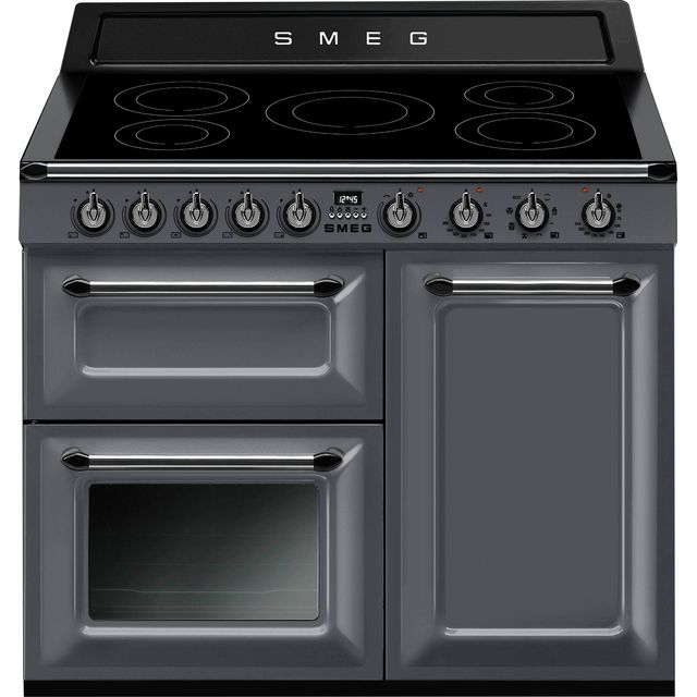 Smeg Victoria 100cm Electric Range Cooker with Induction Hob - Slate - A/B Rated