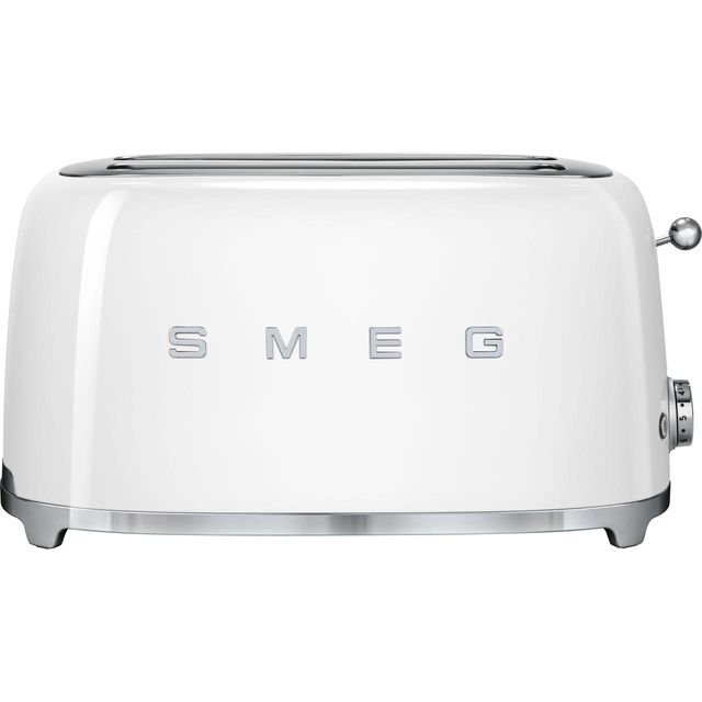 Smeg TSF02WHUK 50's Retro Style 4 Slice Toaster, Extra-Wide Bread Slots, 6 Browning Levels, Reheat and Defrost Functions, Removable Crumb Tray, Anti-Slip Feet, 1500 W, White