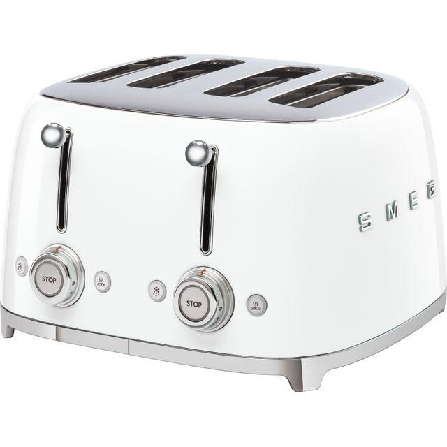 Smeg 50&/best/toasters/39;s Retro TSF03WHUK 4 Slice Toaster - White