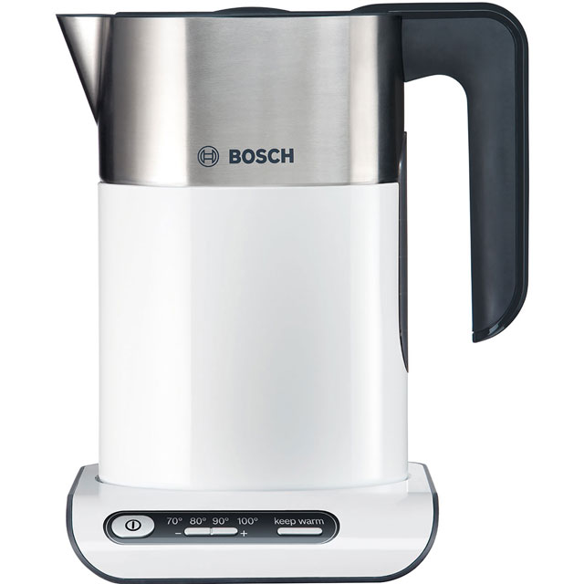 Bosch Styline TWK8631GB Kettle with Temperature Selector - White / Stainless Steel