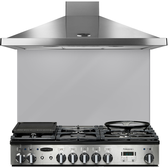 Rangemaster UNBSP1092MS 109 cm Coloured Glass Splashback - Metallic Silver
