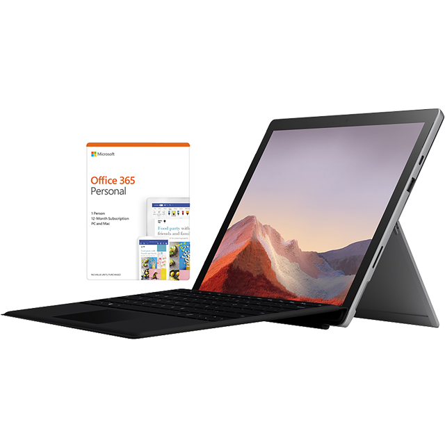 "Microsoft Surface Pro 7 Platinum 12.3"" with Black Surface Type Cover & Office 365 Personal 1-year subscription - VDV-00002BUNBLK - 1"
