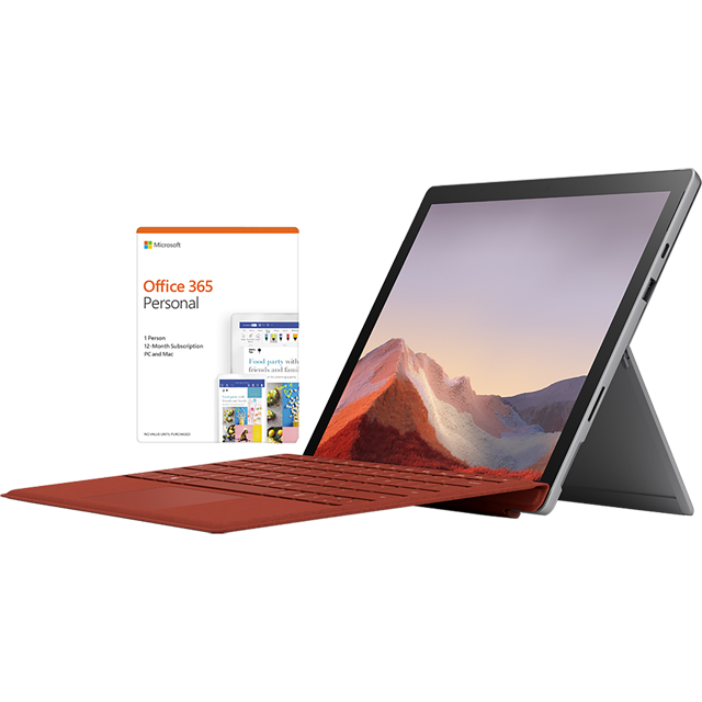 "Microsoft Surface Pro 7 Platinum 12.3"" with Poppy Red Surface Type Cover & Office 365 Personal 1-year subscription - VDV-00002BUNRED - 1"