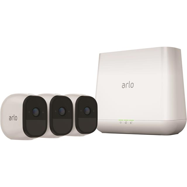 Arlo Pro Smart Weatherproof Security System with 3 Cameras - White