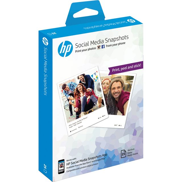 HP Social Media Snapshots Photo Paper W2G60A Printer Ink - White - W2G60A - 1