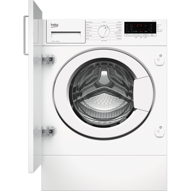 Beko RecycledTub� WTIK84111F Integrated 8Kg Washing Machine with 1400 rpm - White - C Rated