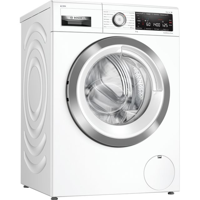 "Bosch Serie 8 i-Dosâ""¢ WAV28KH3GB Wifi Connected 9Kg Washing Machine with 1400 rpm - White - A+++ Ra"