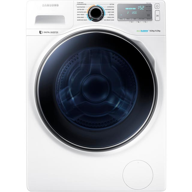 samsung ecobubble wd90j7400gw 9kg 6kg washer dryer with rpm white