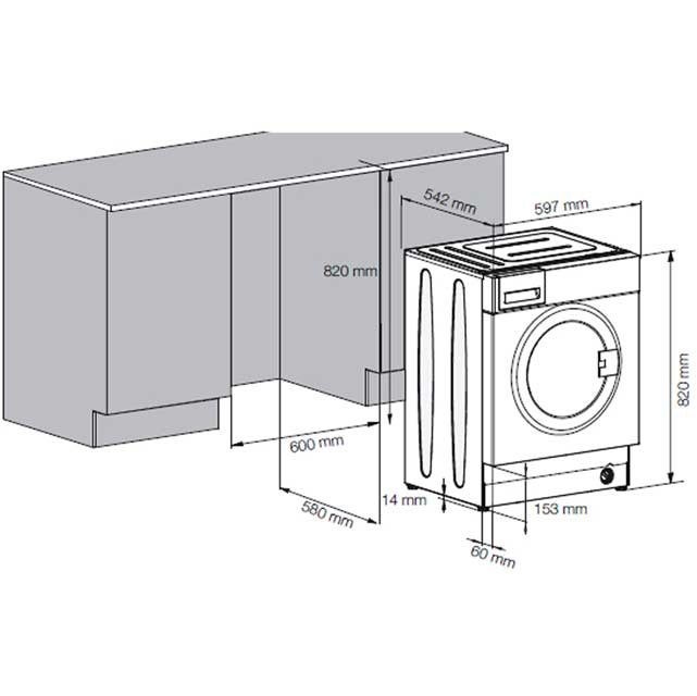 Beko WDIR7543101 Built In Washer Dryer - White - WDIR7543101_WH - 2