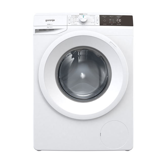 Gorenje WaveActive WE843 8Kg Washing Machine with 1400 rpm - White - A+++ Rated - WE843_WH - 1