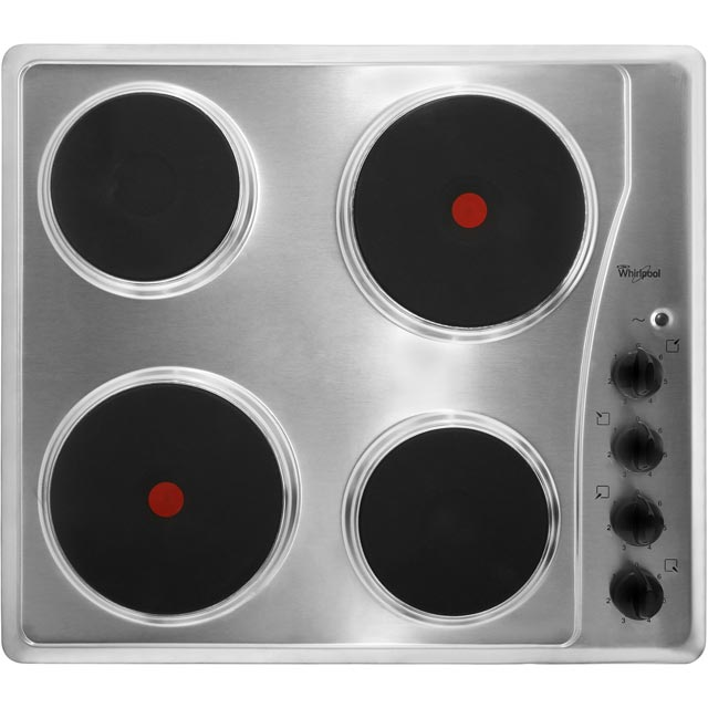 Whirlpool 58cm Solid Plate Hob - Stainless Steel