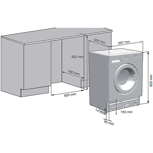 Beko WIR76540F1 Integrated 7Kg Washing Machine with 1600 rpm - A+++ Rated - WIR76540F1_WH - 2