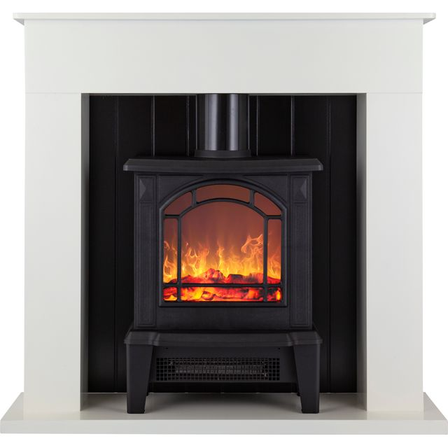 Warmlite Ealing WL45037W Log Effect Suite And Surround Fireplace - White