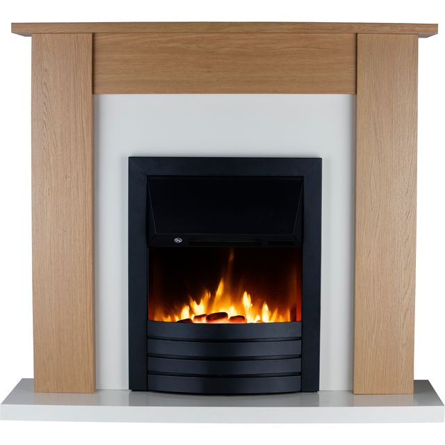 Warmlite Winchester WL45042 Pebble Bed Suite And Surround Fireplace With Remote Control - Oak