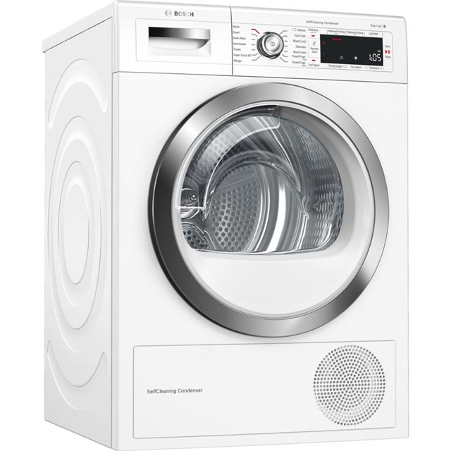Bosch Serie 8 WTWH7561GB Wifi Connected 9Kg Heat Pump Tumble Dryer - White - A++ Rated