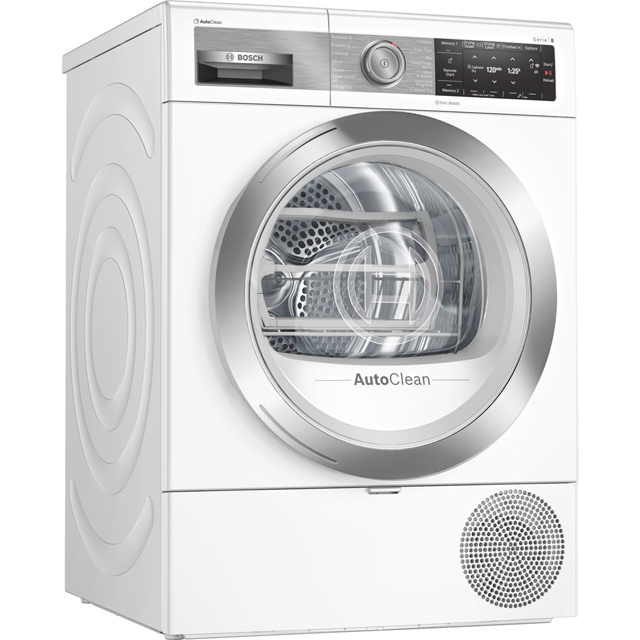 Bosch Serie 8 WTX88EH9GB Wifi Connected 9Kg Heat Pump Tumble Dryer - White - A+++ Rated - WTX88EH9GB_WH - 1
