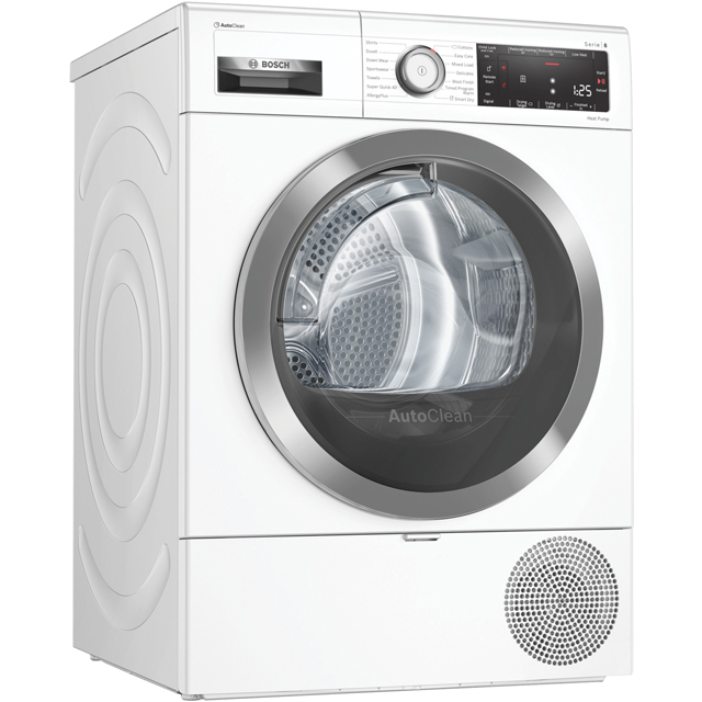Bosch Serie 8 WTX88RH9GB Heat Pump Tumble Dryer - White - WTX88RH9GB_WH - 1