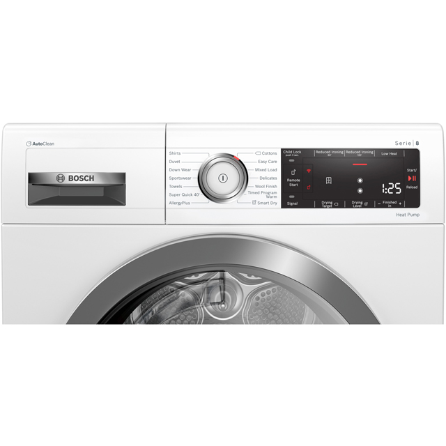 Bosch Serie 8 WTX88RH9GB Heat Pump Tumble Dryer - White - WTX88RH9GB_WH - 3