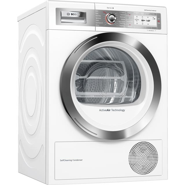Bosch Serie 8 WTYH6791GB Wifi Connected 9Kg Heat Pump Tumble Dryer - White - A++ Rated