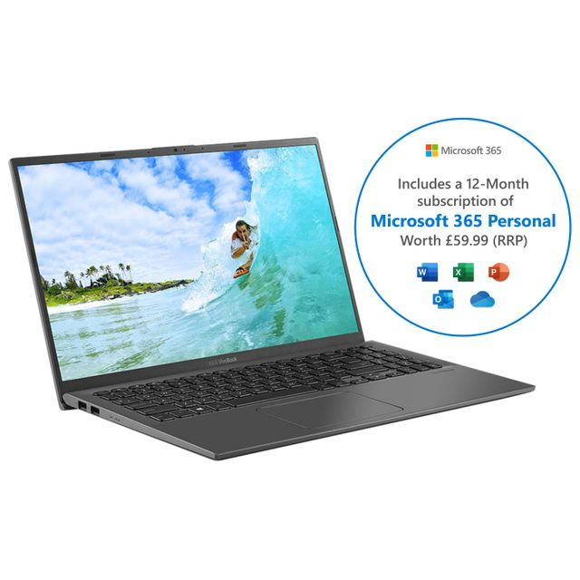 """Asus Vivobook X512FA 15.6"""" Laptop Includes Microsoft 365 Personal 12-month subscription with 1TB Cloud Storage - Grey"""