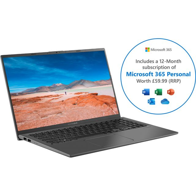 """Asus VivoBook X512JA 15.6"""" Laptop Includes Microsoft 365 Personal 12-month subscription with 1TB Cloud Storage - Grey"""