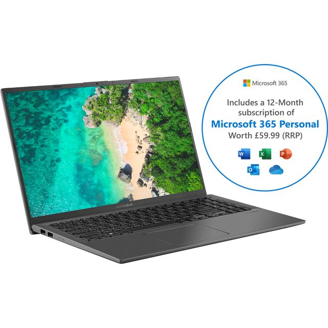 """Asus VivoBook X512JA 14"""" Laptop Includes Microsoft 365 Personal 12-month subscription with 1TB Cloud Storage - Grey"""