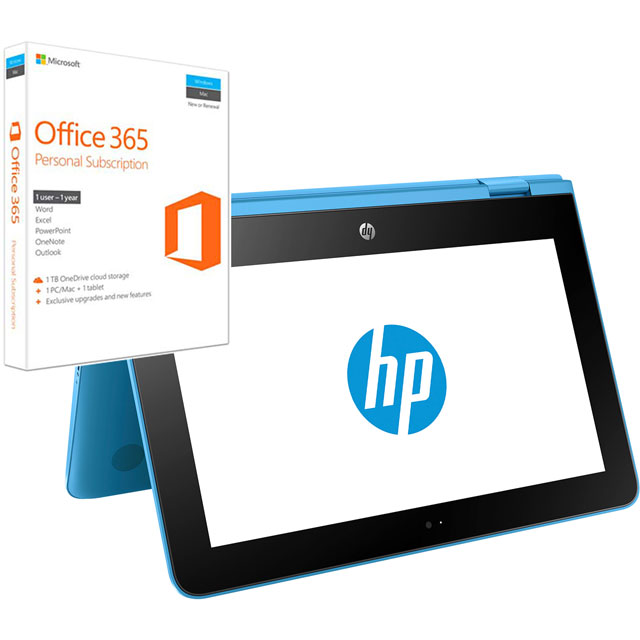 "HP Stream x360 11-aa000na 11.6"" 2-in-1 Laptop Includes Office 365 Personal 1-year subscription with 1TB Cloud Storage - Aqua Blue"