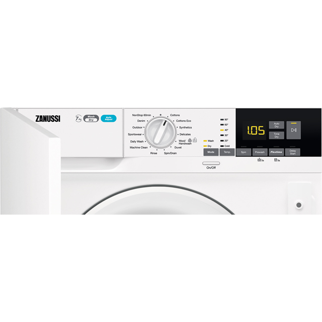 Zanussi Z716WT83BI Built In 7Kg / 4Kg Washer Dryer - White - Z716WT83BI_WH - 2