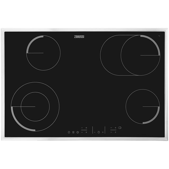 Zanussi ZEV8646XBA Built In Ceramic Hob - Black / Stainless Steel - ZEV8646XBA_BK - 1
