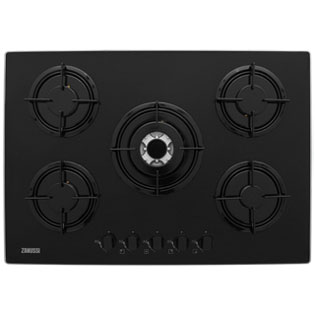 Zanussi 74cm Gas Hob - Black Glass